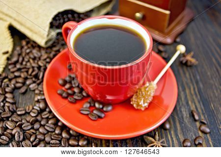 Coffee In Red Cup With Sugar And Bag On Board