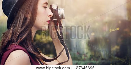 Traveler Photograph Journey Tourist Girl Lady Concept