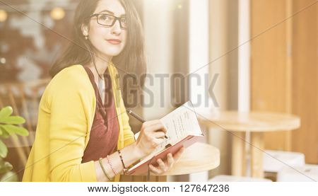 Beautiful Lady Writing Notebook Diary Concept