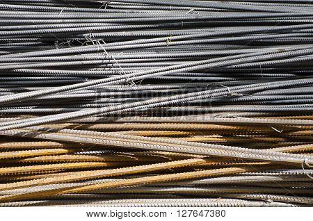 heap of industrial metal steel rods in asia market