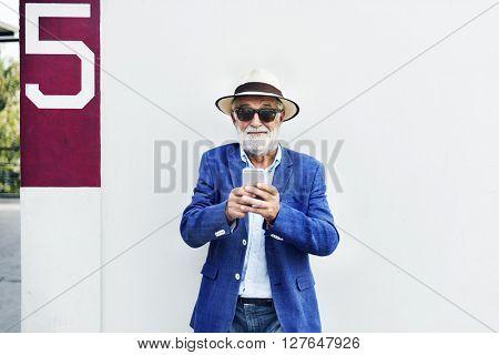 Senior Man Mobile Phone Communication Connection Technology Concept