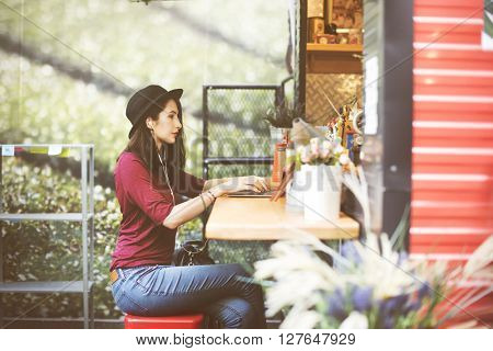 Woman Laptop Global Communications Social Networking Technology Concept