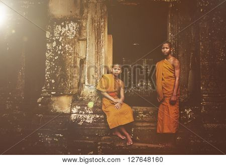 Contemplating Monk in Cambodia Concept