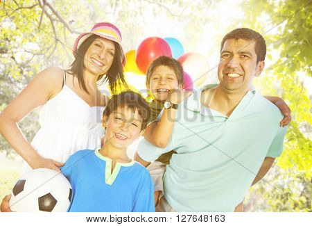 Family Playing Outdoors Children Field Concept