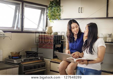 Sisters Happiness Cooking Activity Searching Menu Concept