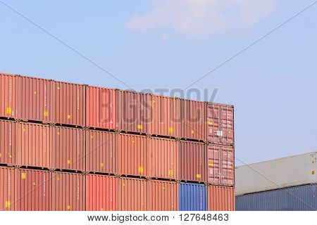 the stack of container in the ship yard