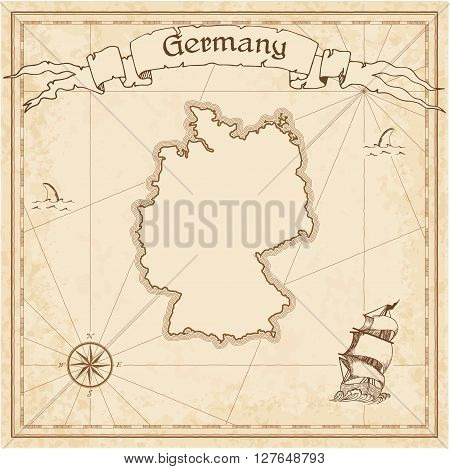 Germany Old Treasure Map. Sepia Engraved Template Of Pirate Map. Stylized Pirate Map On Vintage Pape