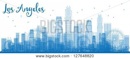 Outline Los Angeles Skyline with Blue Buildings. Business travel and tourism concept with modern buildings. Image for presentation, banner, placard and web site.