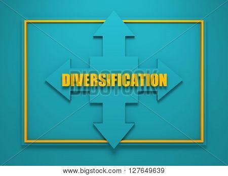 Arrow cross with diversification word. Way choosing metaphor. 3D rendering