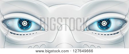 Face with eyes the robot. Futuristic machine. Stock vector illustration.