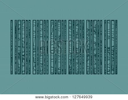 Pencil strokes painted bar code. Retail relative illustration