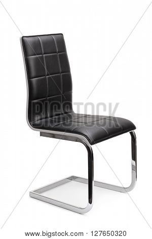 Vertical studio shot of a modern black leather chair isolated on white background