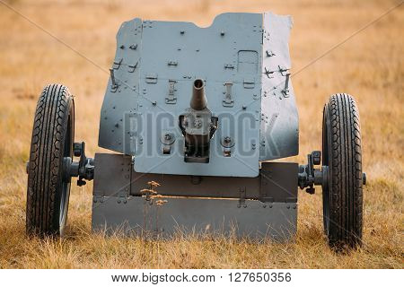 The Pak 36 Or Panzerabwehrkanone 36 Was A German Anti-tank Gun That Fired A 3.7 Cm Calibre Shell. It Was The Main Anti-tank Weapon Of Wehrmacht Infantry Units Until Mid-1941. German Anti-tank Gun In Field.