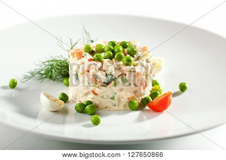 Chicken and Egg Salad Dressing with Green Peas
