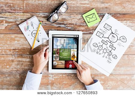 business, media, people and technology concept - close up of female hands pointing finger to tablet pc computer screen with news application, scheme and eyeglasses