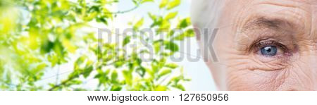 age, vision, eyesight and old people concept - close up of senior woman face and eye over green natural background