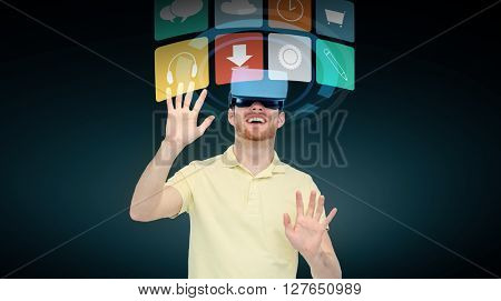 3d technology, virtual reality, cyberspace, entertainment and people concept - happy young man with virtual reality headset or 3d glasses and computer menu icons over black background