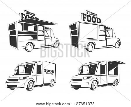 Food trucks. Vintage vector monochrome pictures set for emblems, labels, badges