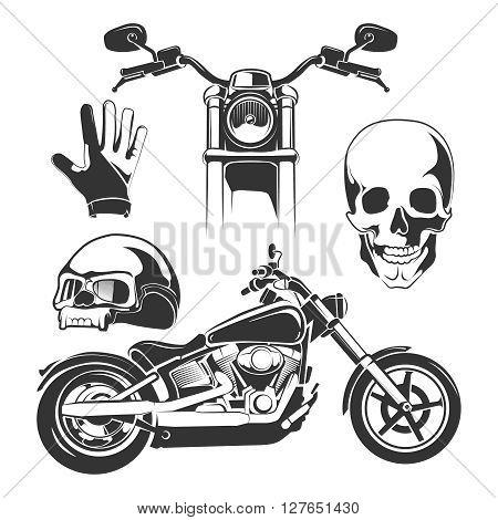 Vector elements for biker labels, logos and emblems