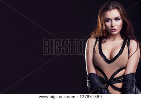Gorgeous Woman With Hot Sexy Big Breast On Black Background