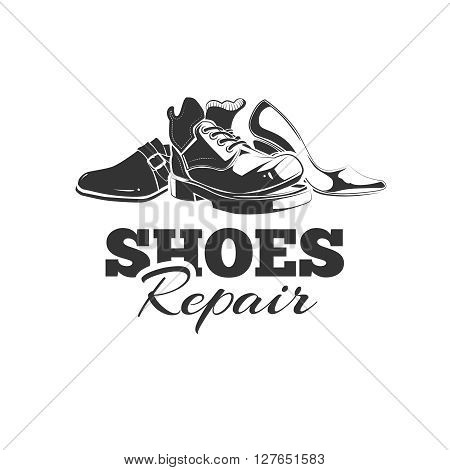 vintage emblem of demaged shoes. Logo template with place for your text. you can try this to your design projects