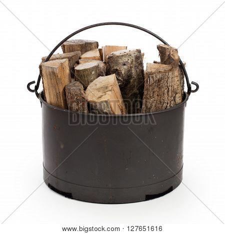 Metal Basket Of Firewood