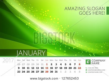 Desk Line Calendar For 2017 Year. Vector Design Print Template With Abstract Background. January. We