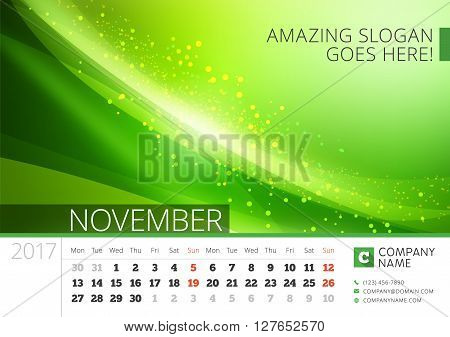 Desk Line Calendar For 2017 Year. Vector Design Print Template With Abstract Background. November. W