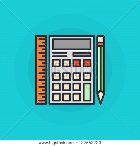 Calculator with ruler and pencil flat symbol - vector mathematics or financial colorful sign on blue background