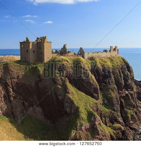 Dunnottar Castle with blue sky in - Stonehaven Aberdeen Scotland UK