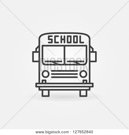 School bus icon - vector linear bus transportation symbol or sign