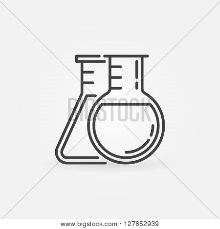 Two flasks icon - vector chemistry symbol in thin line style. Laboratory glass sign or logo element
