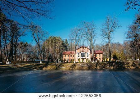 Old manor house in village Korenevka in Gomel region, Belarus.