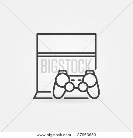 Game console with joystick icon - vector linear gaming symbol or logo element