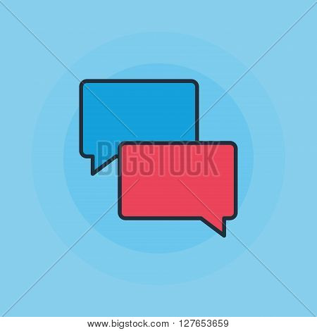 Speech bubbles icon - vector chat bubble illustration or symbol on blue background