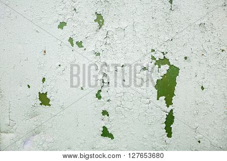 Old grunge material. Peeling green paint texture. Grunge background with old peeling paint. Old peeling paint with cracks.