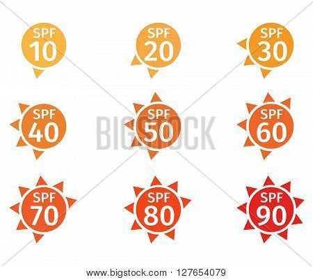 spf 10 to 90 logo isolated on white background
