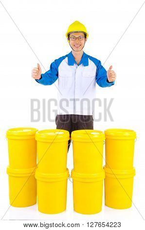 Lubricant oils and greases distributor with suit hardhat showing thumb-up isolated on white background.