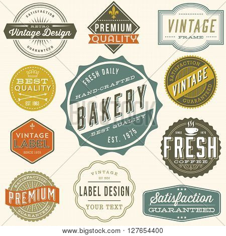 Vintage Label Design - Set of colorful vintage labels and design elements. Each design is grouped and colors are global for easy editing.?