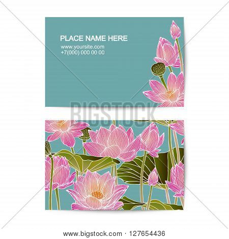 visiting card vector template with lotus flowers