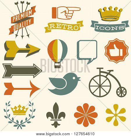 Retro Icons - Set of retro themed icons. Each icon is grouped separately and colors are global for easy editing.