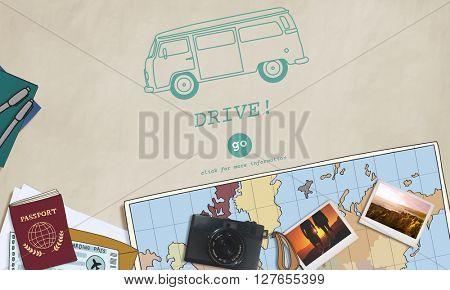 Retro Car Travel Tour Destination Concept