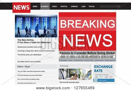 Breaking News Update Broadcast Report Announcement Concept