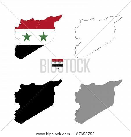 Syria country black silhouette and with flag on background isolated on white