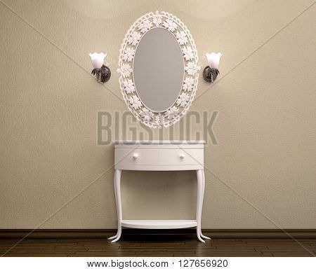 3d illustration of beautiful white dressing table with a carved frame for a mirror, 3D Illustration.
