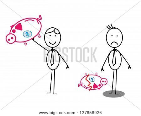 Happy & Unhappy Businessman Piggy bank .eps10 editable vector illustration design