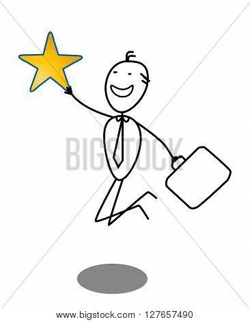 Businessman And Star .eps10 editable vector illustration design