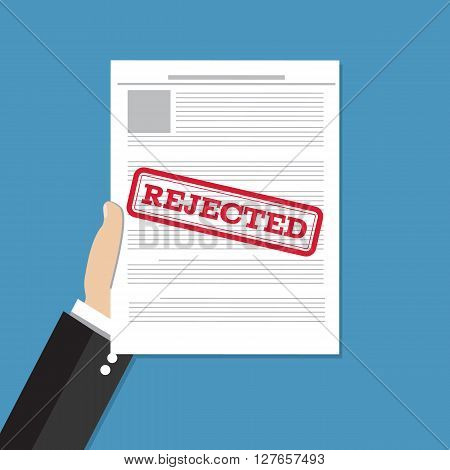 Hand holds rejected document. Job application rejected. Vector flat illustration