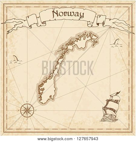 Norway Old Treasure Map. Sepia Engraved Template Of Pirate Map. Stylized Pirate Map On Vintage Paper