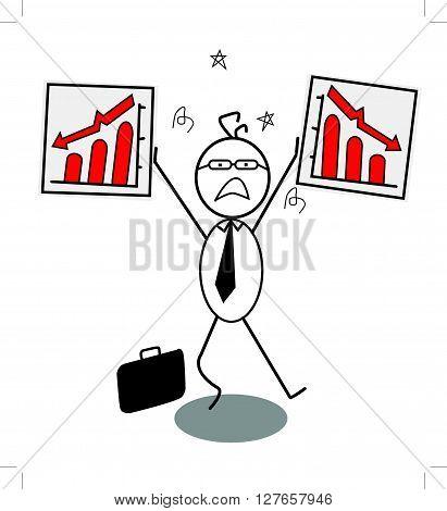 Businessman down chart .eps10 editable vector illustration design